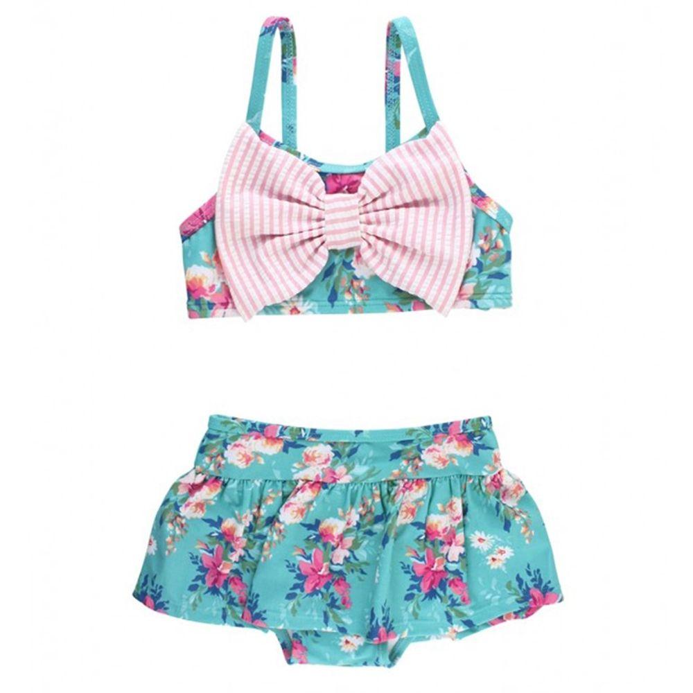 美國 RuffleButts - 小女童UPF 50+防曬無袖比基尼泳裝-夏日風情