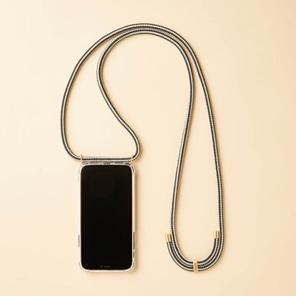 韓國 ARNO - 編繩背帶透明手機殼-黑與白