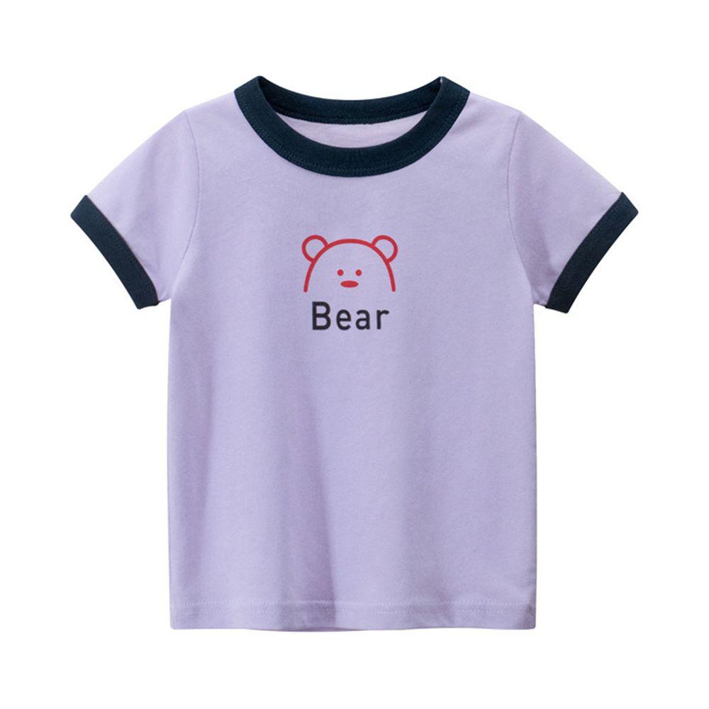 純棉短袖上衣-Bear小熊-淺紫色