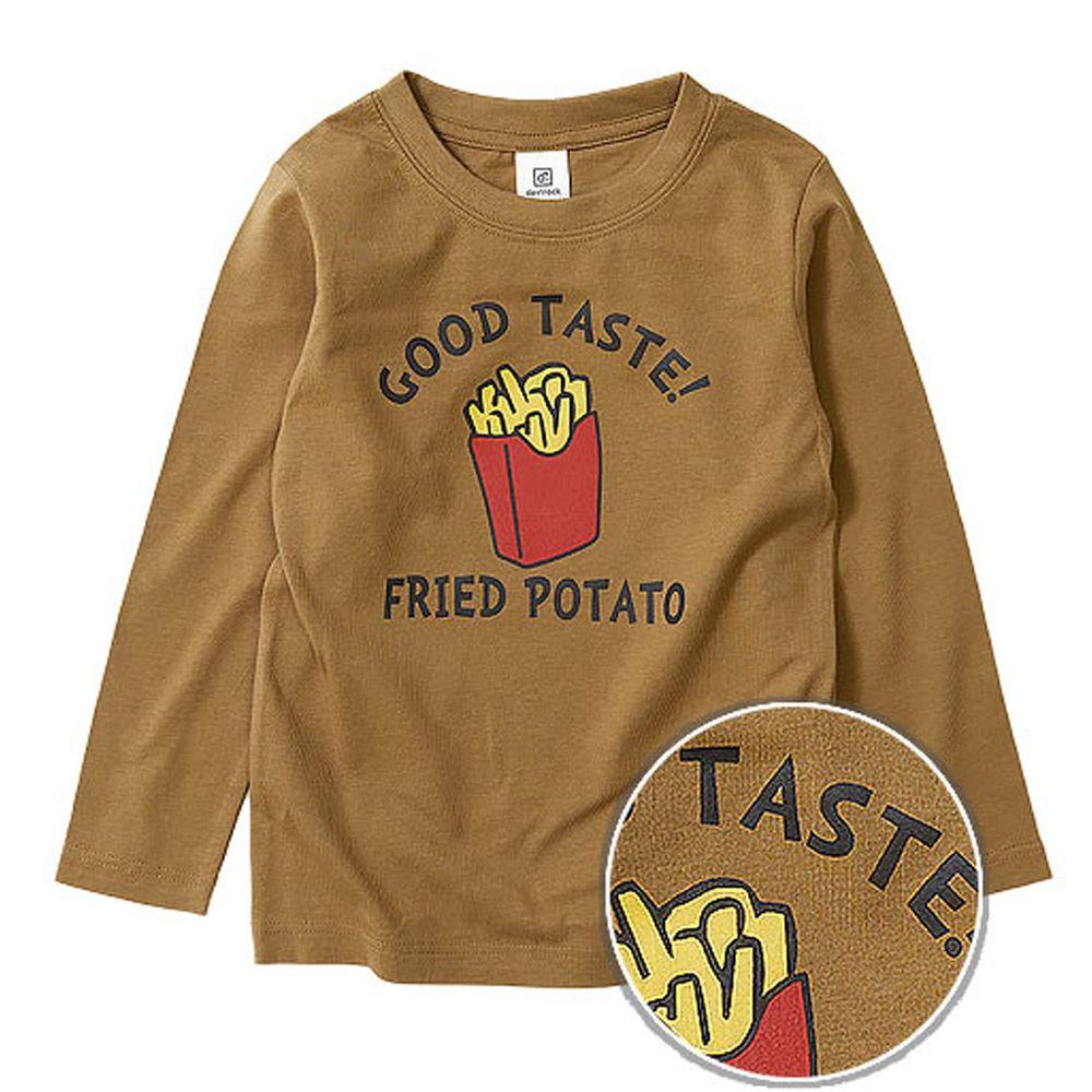 日本 devirock - 純棉 定番百搭印花長T-薯條-咖啡