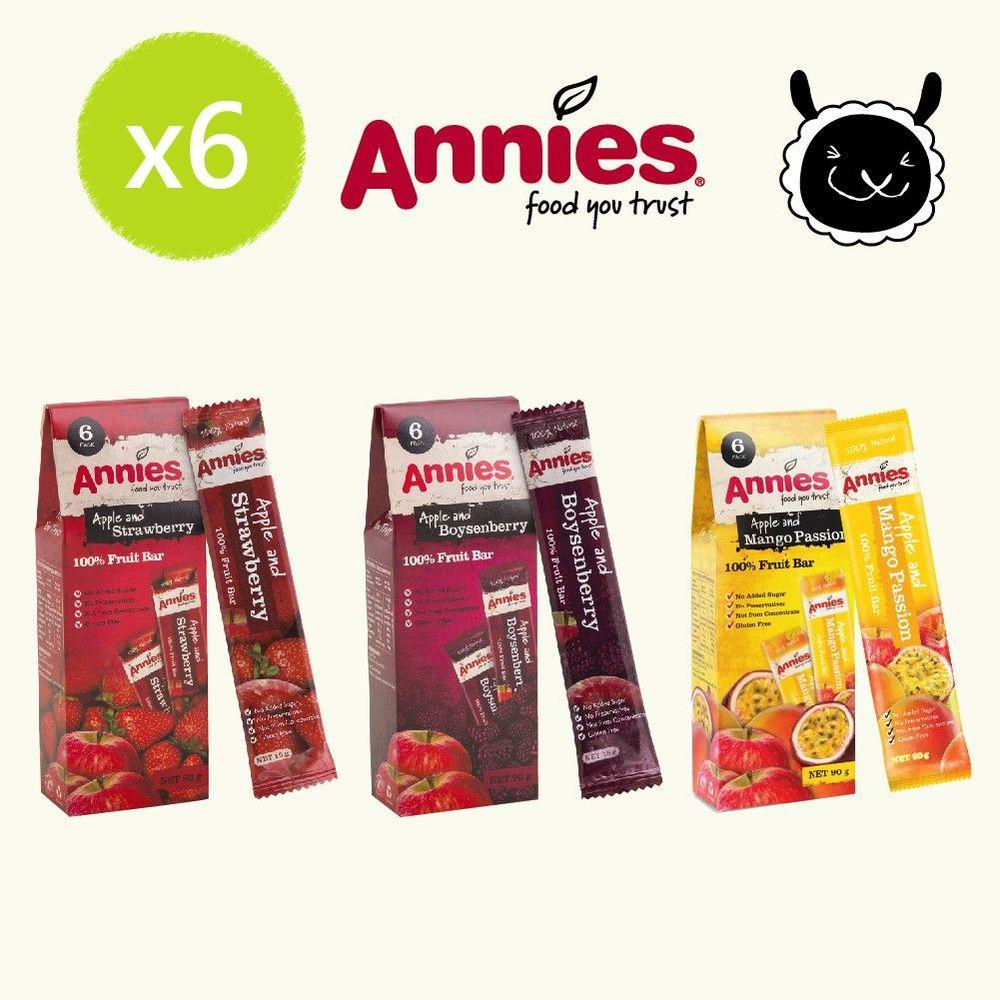 壽滿趣 - 紐西蘭Annies 全天然水果條綜合口味超值6盒組-草莓*2+波森莓*2+百香芒果*2 (15gm,6片裝*6)