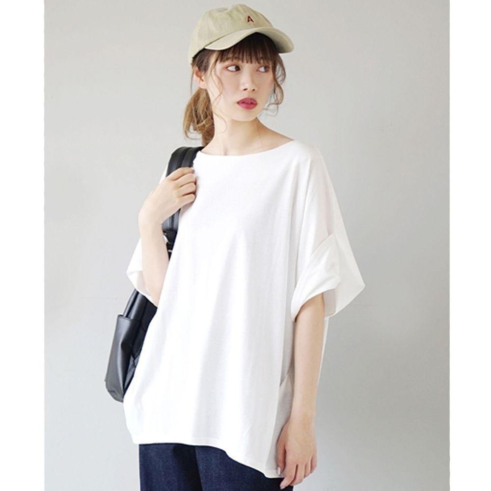 日本 zootie - Design+ 顯瘦立體感剪裁落肩五分袖上衣-白
