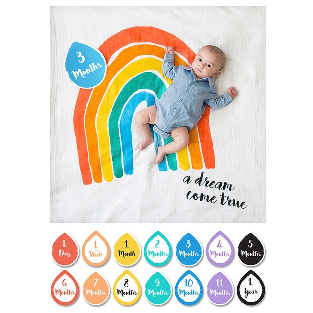 加拿大 lulujo - 寶寶成長包巾卡片組-彩虹