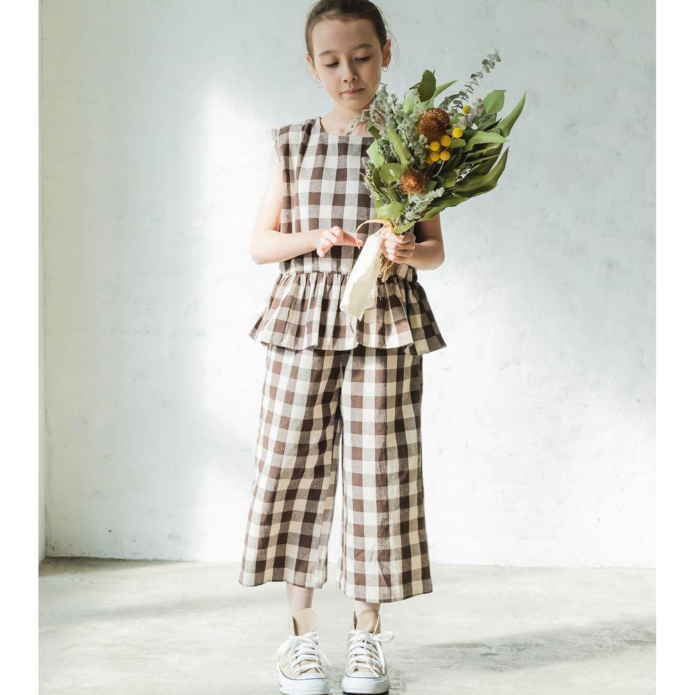 日本 PAIRMANON - 無袖荷葉衣襬上衣 X 寬褲套裝-格紋-摩卡
