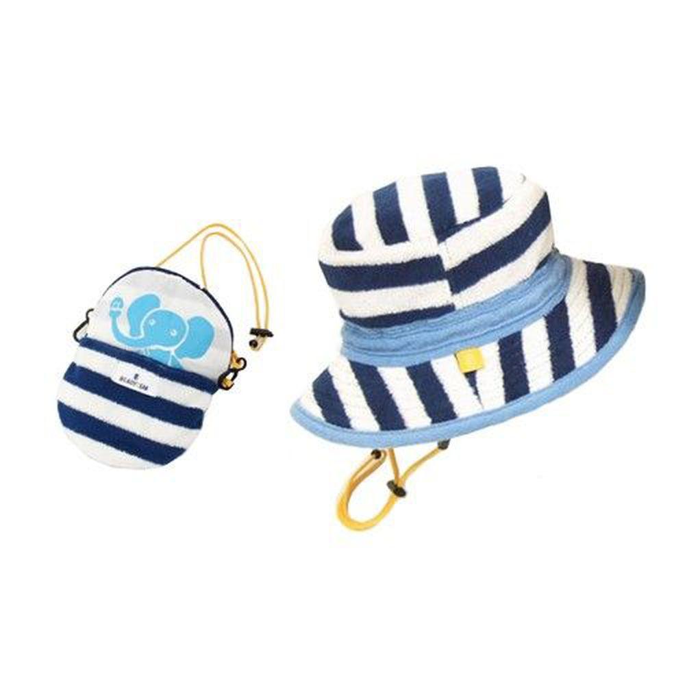 日本BeadyGem - 兒童輕巧收納帽-百搭條紋(漁夫帽)-藍白大象