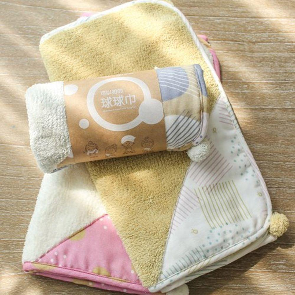 minihope美好的親子生活 - 可以扣的球球巾-3件組 (30x75cm*3)-淺灰+米白+芥黃各*1