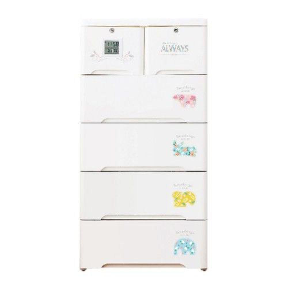 家窩 - 薇樂溫濕感測收納櫃(DIY組裝)-動物派對-單層30L*5層