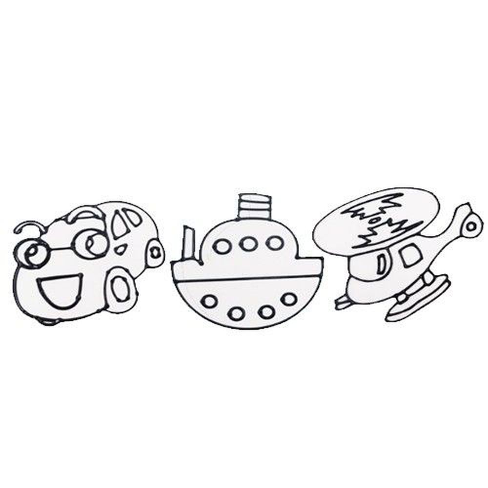 愛玩色創意館 - 彩繪玻璃貼畫框3入組-C (直升機+船+車子)