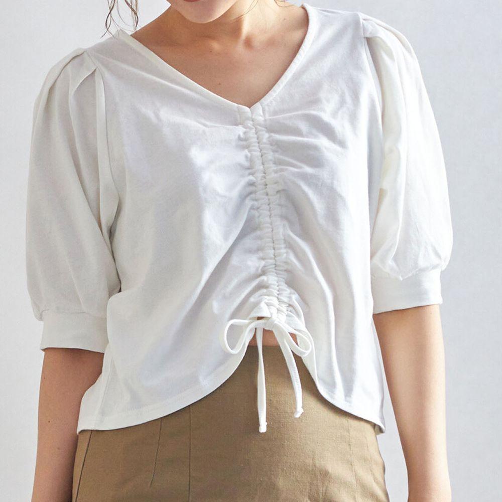 日本 Rejoule - V領抓皺綁帶設計五分袖上衣-白 (M(Free size))