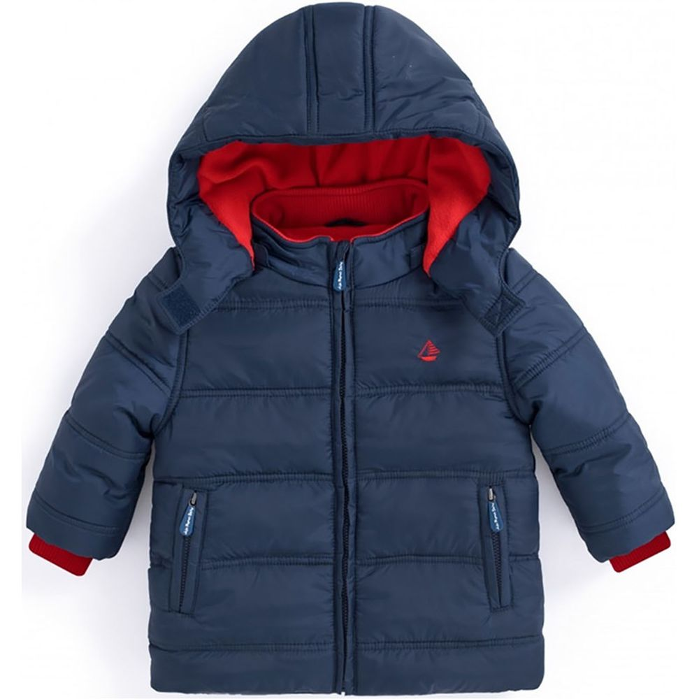 英國 JoJo Maman BeBe - 防雨/防風水手鋪棉外套-優雅藍