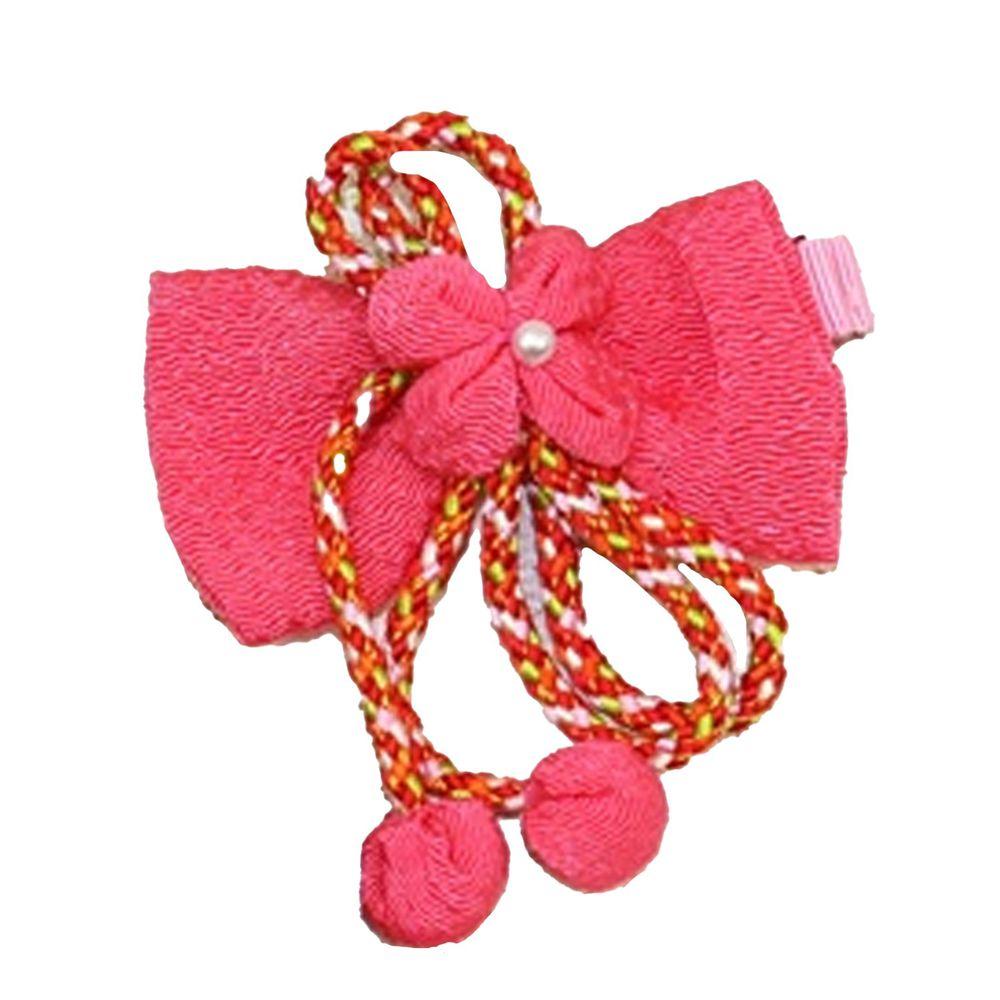 日本服飾代購 - 日本製傳統蝴蝶結髮夾-繩式-粉 (FREE)