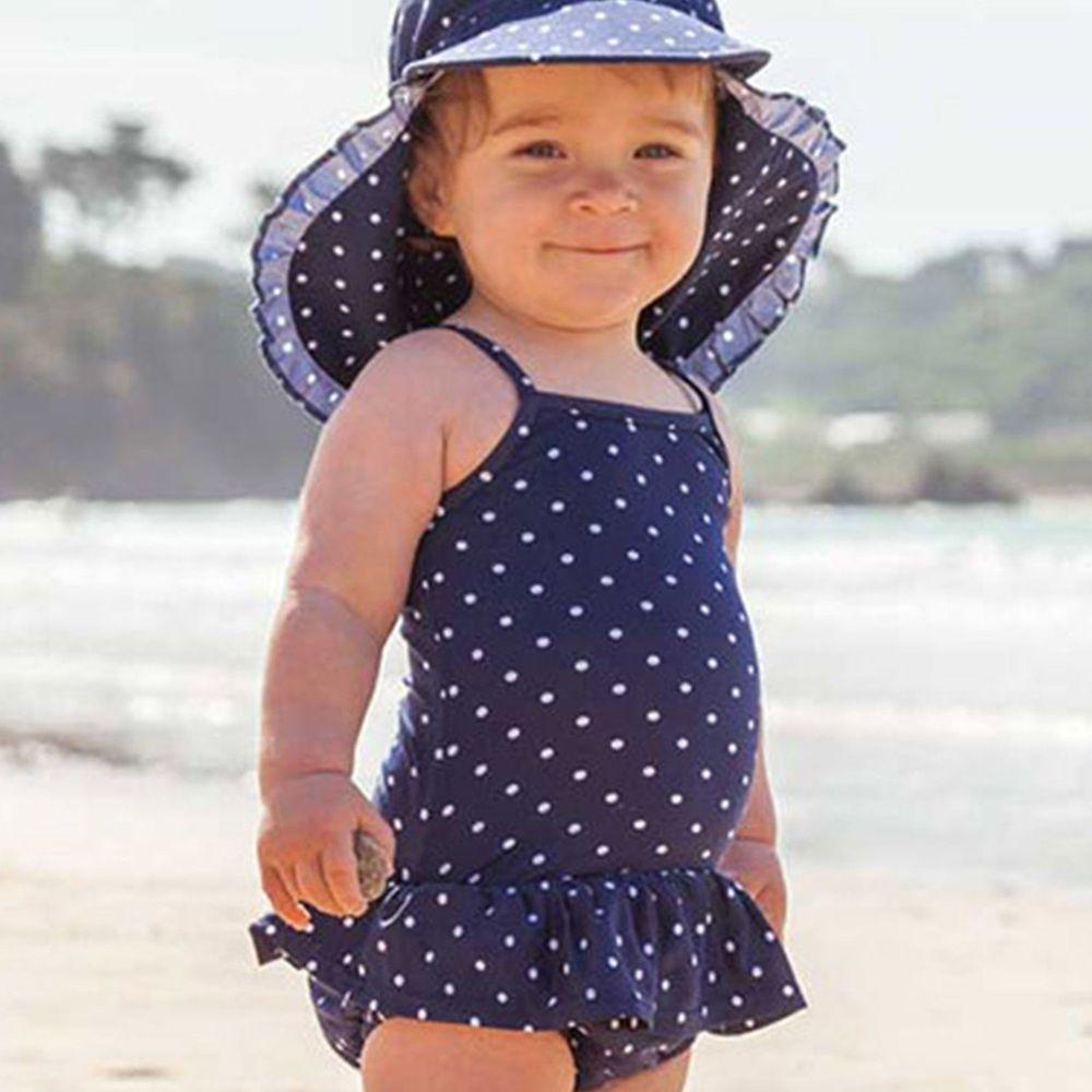 英國 JoJo Maman BeBe - 嬰幼兒/兒童連身泳裝-藍底白點