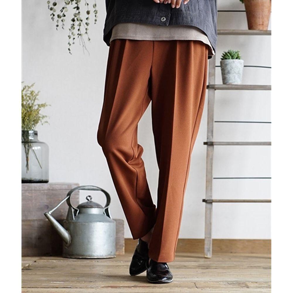 日本 zootie - 美腿彈性復古雪紡哈倫西裝長褲-深咖啡