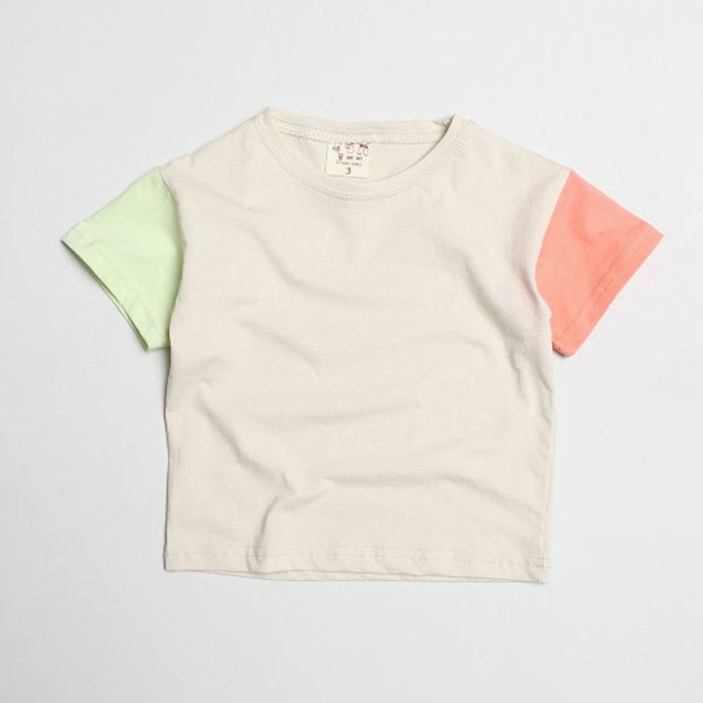 韓國製 - 撞色袖拼接純棉T-綠X粉