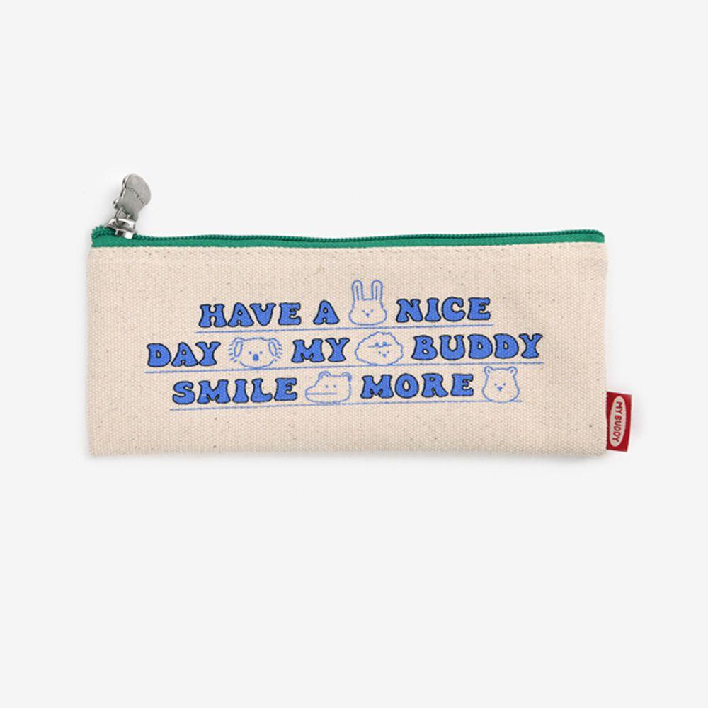 韓國 Daily Like - 牛津布鉛筆袋/餐具收納袋-字母綠 (20 x 8 cm)
