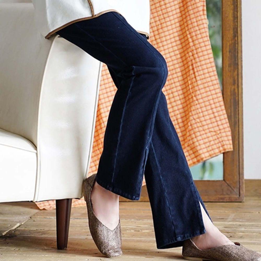 日本 zootie - 前開衩修身微喇叭長褲-深藍
