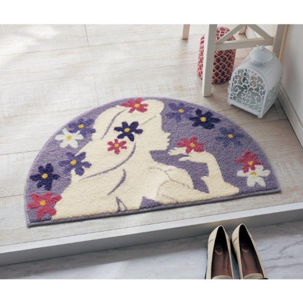日本千趣會 - 迪士尼 花語腳踏墊(玄關/房門)(附止滑墊2片)-長髮公主紫丁香-紫