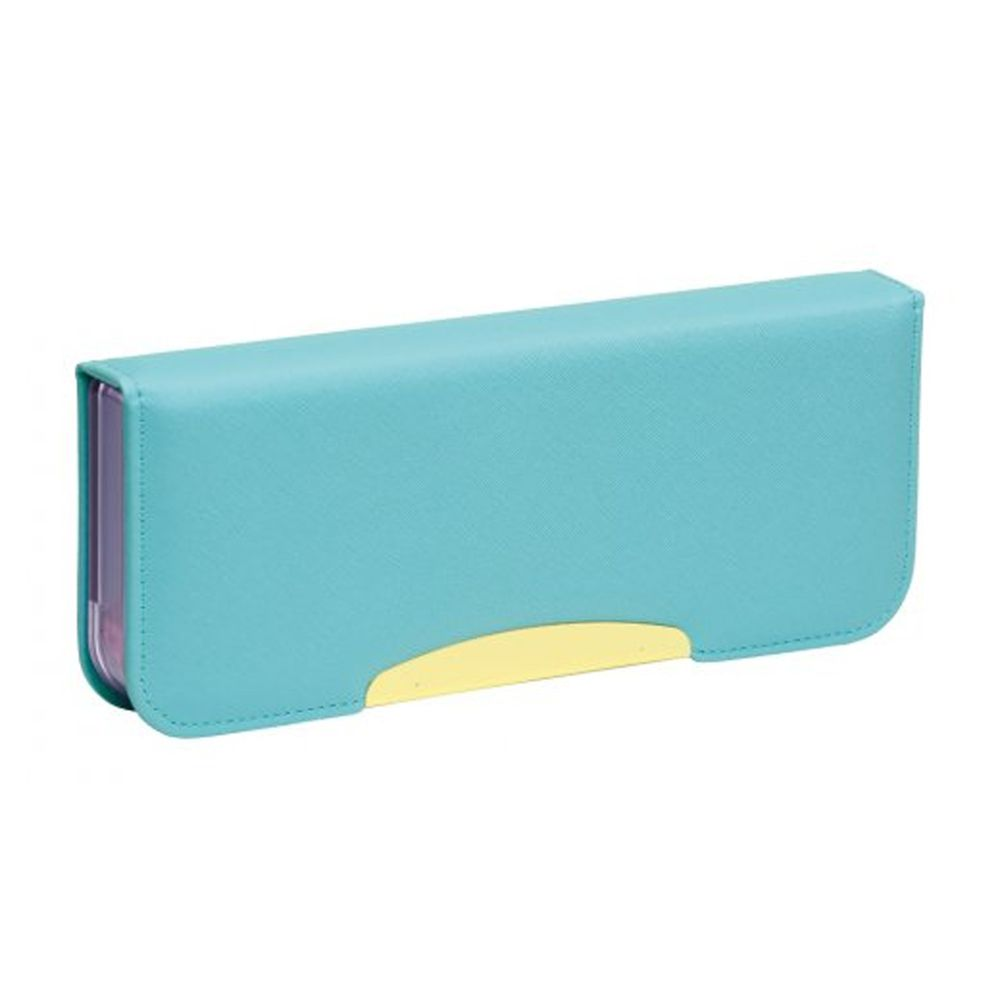 日本文具 SONIC - 日本製硬式雙面鉛筆盒(防開鎖設計+附削鉛筆器)-水藍