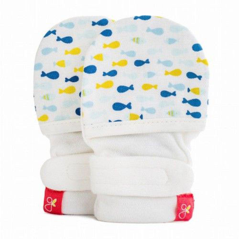 美國 GOUMIKIDS - 有機棉嬰兒手套-小小魚-萌漾
