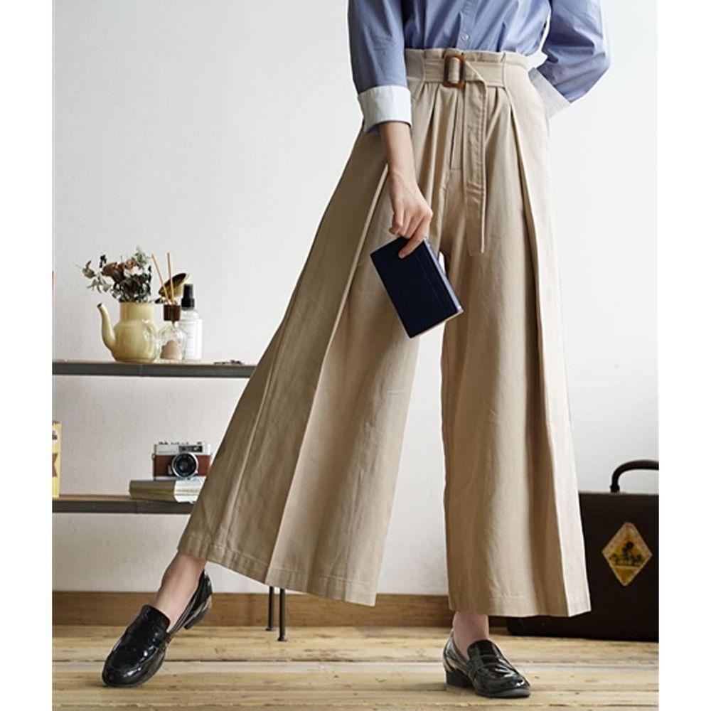 日本 zootie - 純棉率性設計感打褶腰帶寬褲-杏