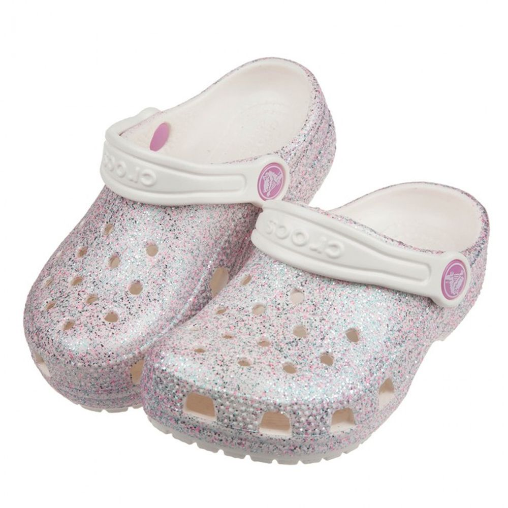 Crocs - 卡駱馳經典閃亮牡蠣粉色兒童布希鞋