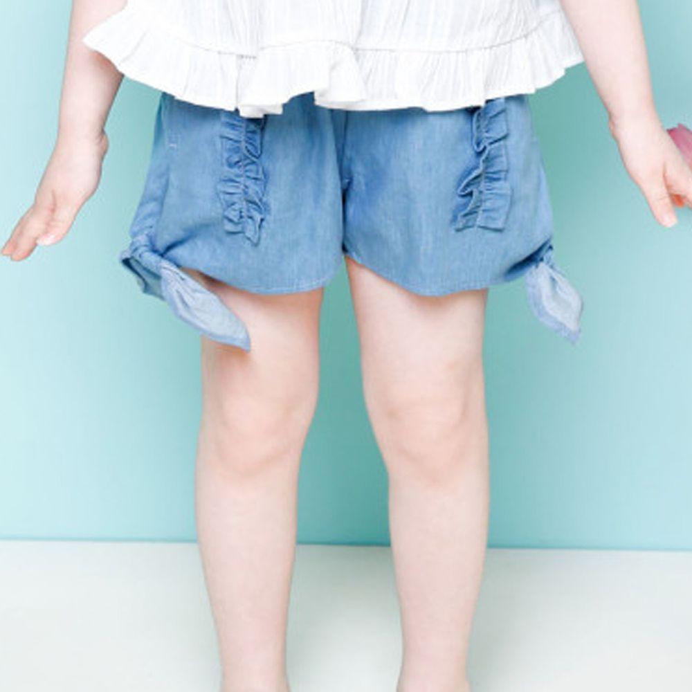 韓國 Jelispoon - 荷葉裝飾小蝴蝶結短褲
