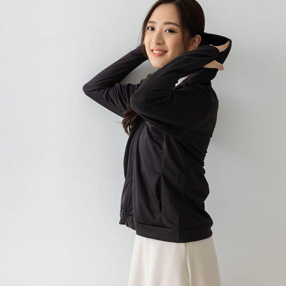 貝柔 Peilou - UPF50+高透氣防曬顯瘦外套-女連帽-黑色