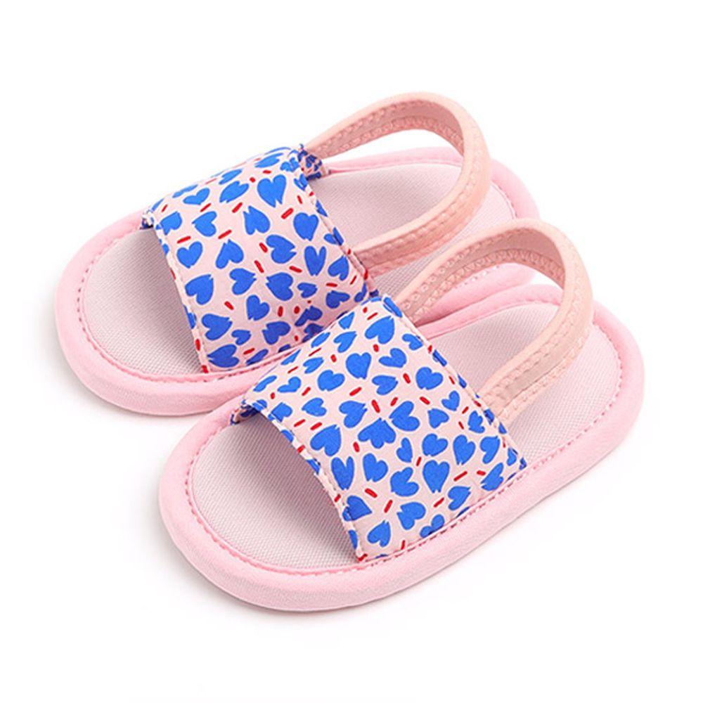 韓國 OZKIZ - 消音防滑室內鞋-鬆緊帶款(印花)-粉紅