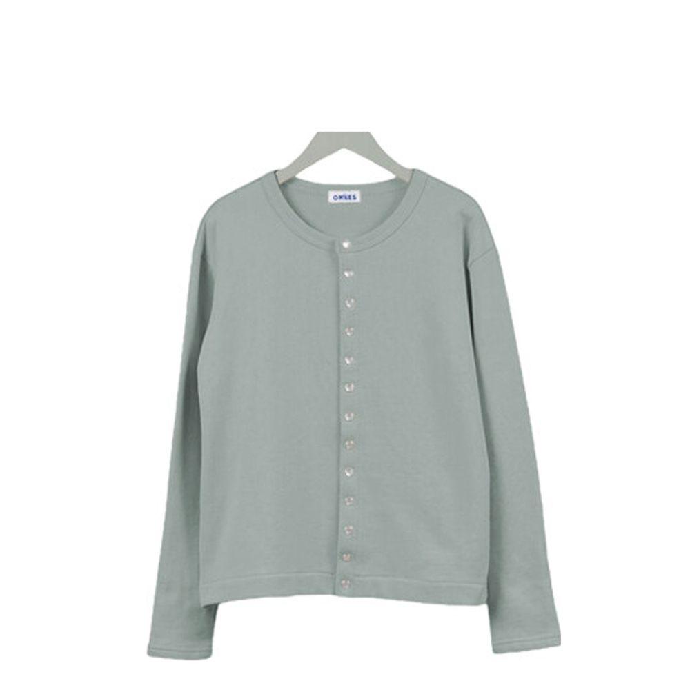 日本女裝代購 - 2way珍珠鈕扣裏毛上衣/外套-灰綠