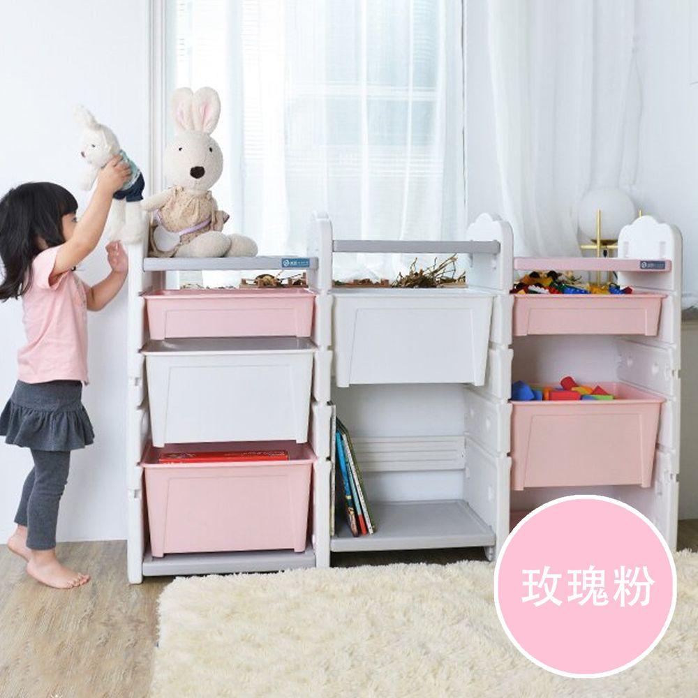 家窩 - 伊格玩具直取收納雙櫃組(4大1小收納箱)-DIY-玫瑰粉