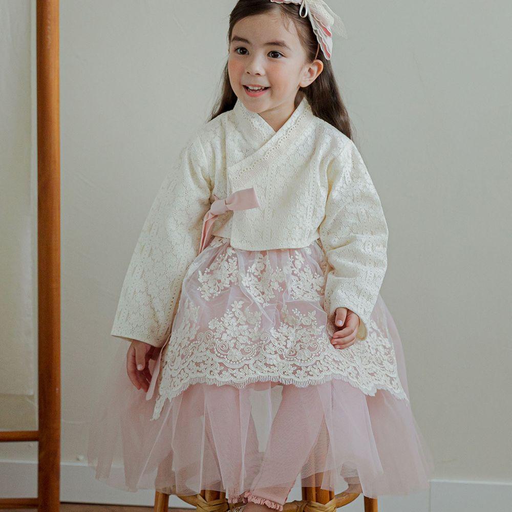 韓國 Mari an u - 透膚蕾絲裝飾網紗韓服-米白X粉紅