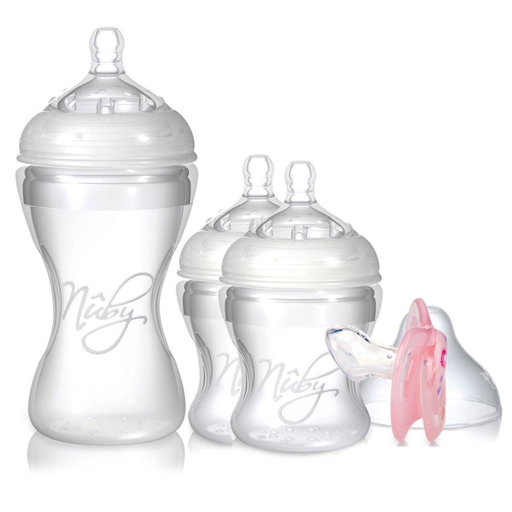 Nuby - 矽膠奶瓶1大2小超值組(送拇指安撫)