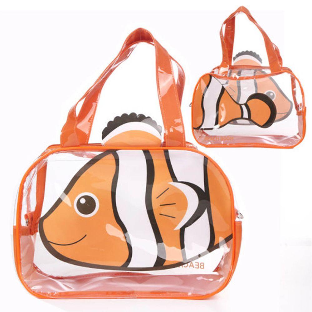 韓國 Beach Boom - 超萌卡通圖案防潑水海灘包-橘色熱帶魚 (29*10*20cm)