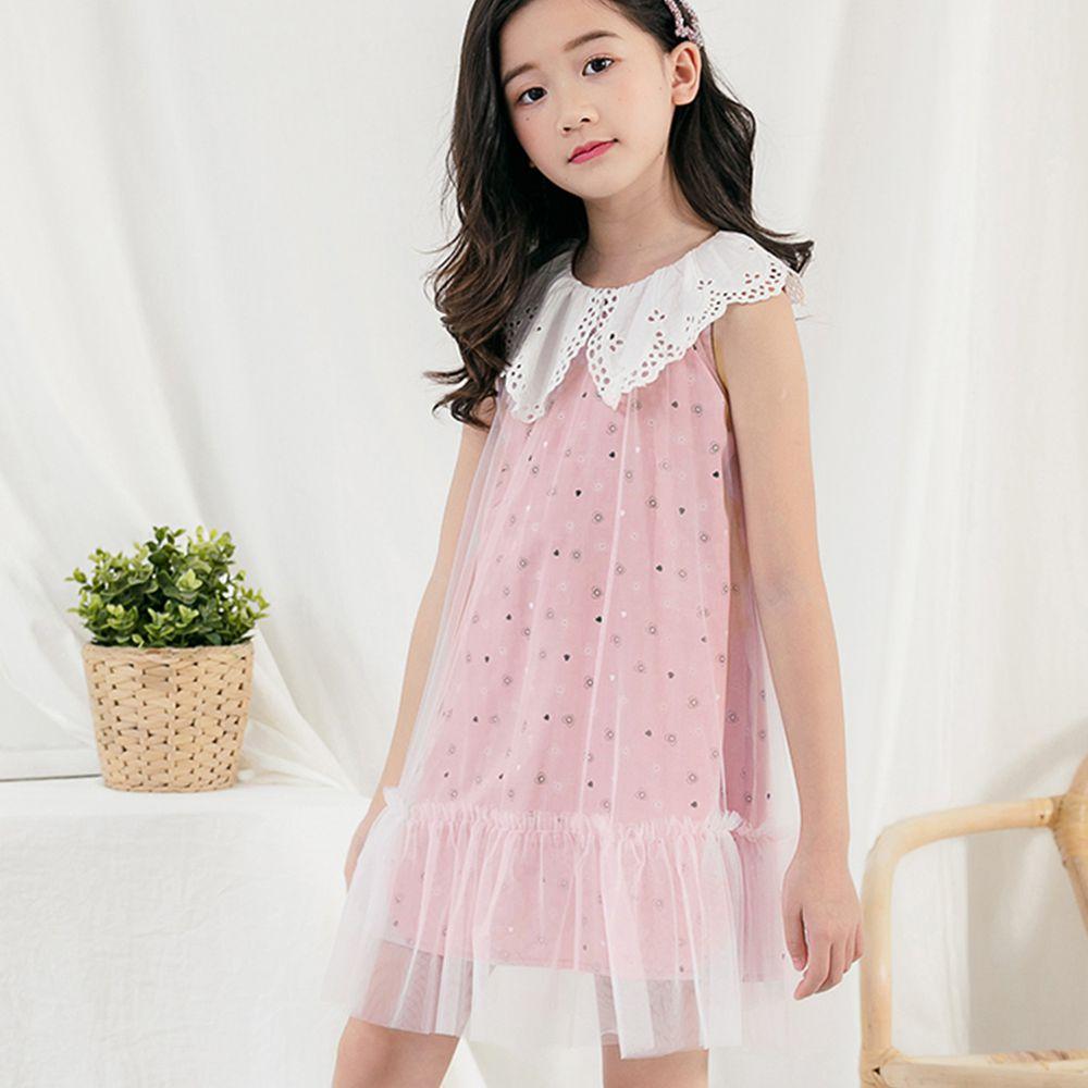 TOUNGIEE - 浪漫花領粉色網紗洋裝
