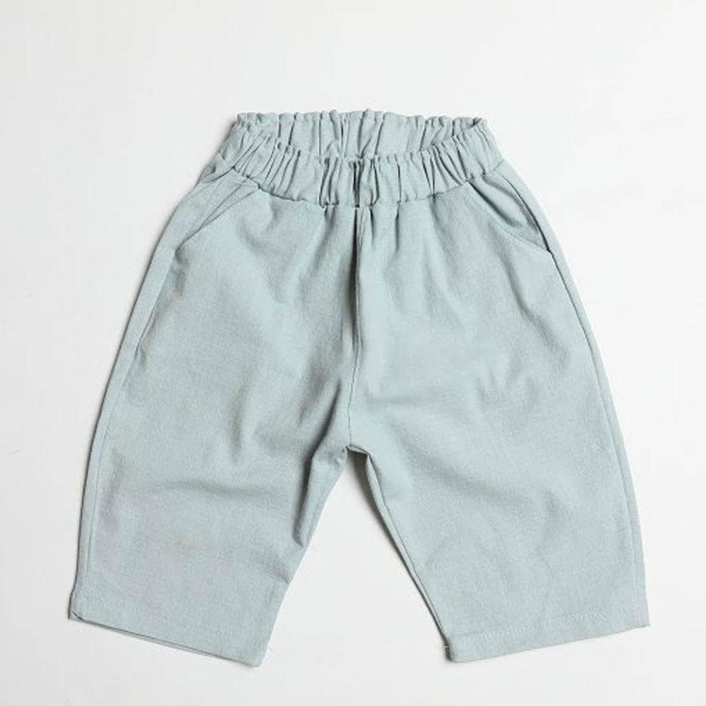 韓國製 - 棉麻7分哈倫褲-天藍
