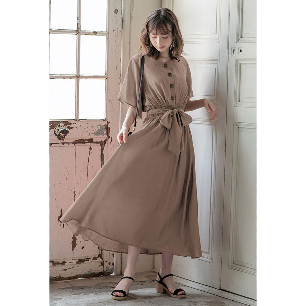 日本 GRL - 浪漫垂墜風排釦大綁帶五分袖洋裝-深灰杏