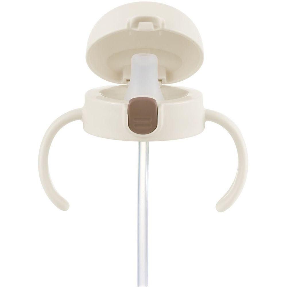 日本 Richell 利其爾 - 鴨嘴吸管上蓋組-TLI系列水杯一代、二代皆適用-米白-8個月適用