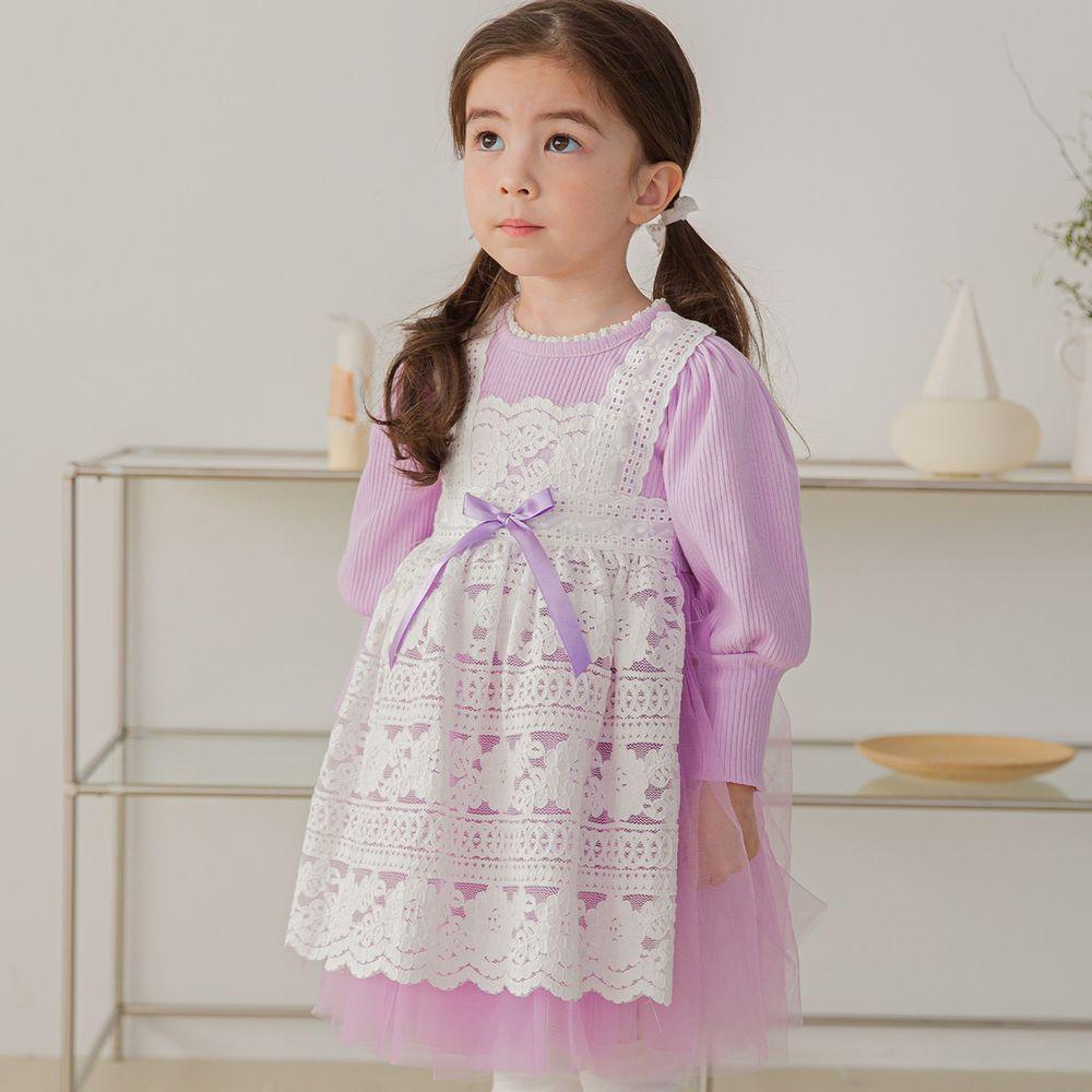 韓國 mari an u - 假蕾絲圍裙網紗洋裝-薰衣紫