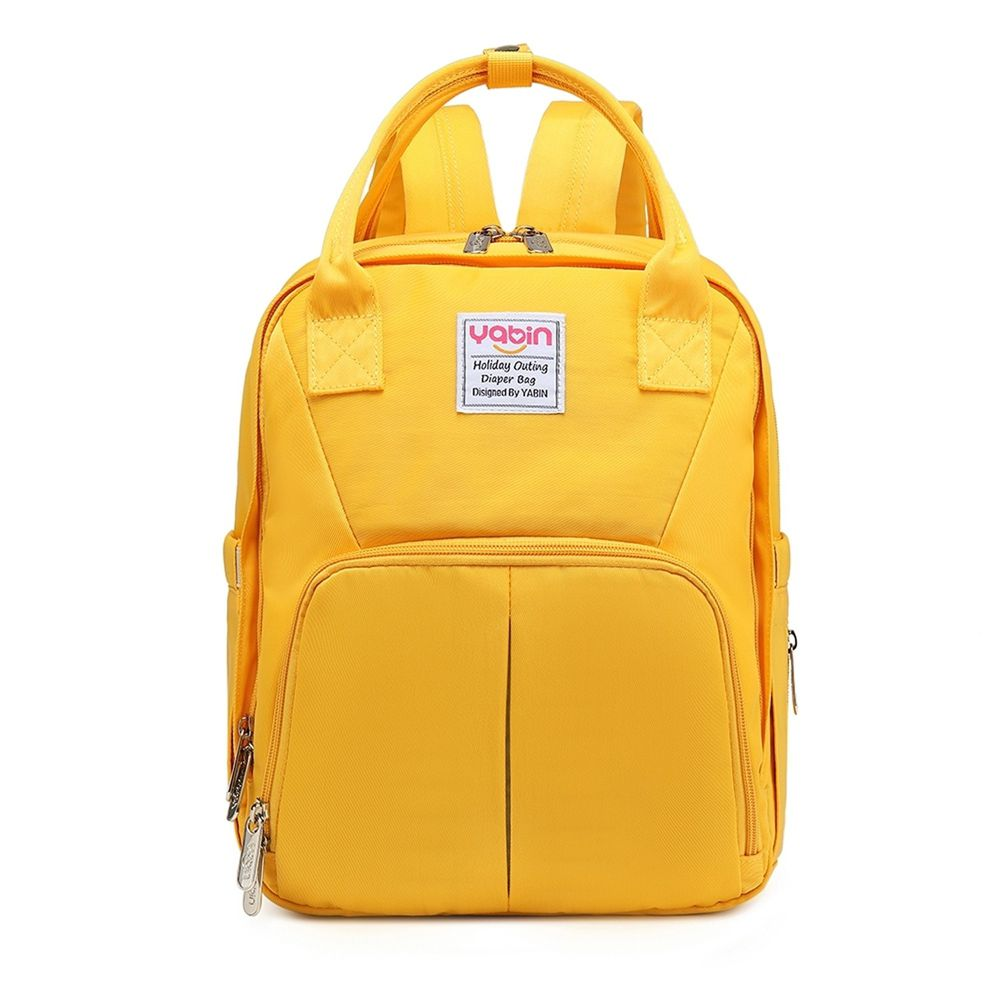 YABIN - 拚色花樣媽咪包 附USB外接可充電-黃
