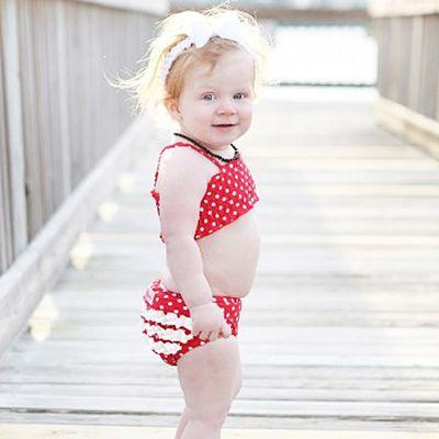 兩截式泳衣-紅色點點