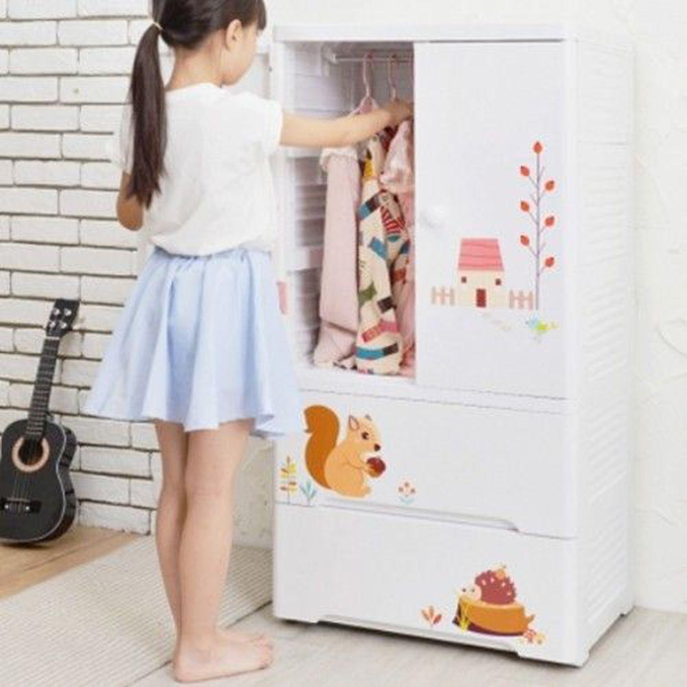 家窩 - 貝格雙開門式兒童吊掛衣櫃(DIY組裝)-松鼠艾瑞-雙開門90L+單層30L*2層