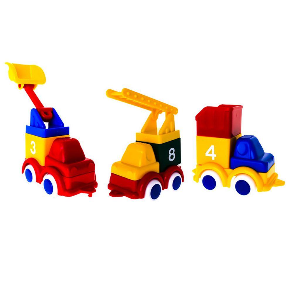 瑞典Viking toys - 積木工程車隊-三件組