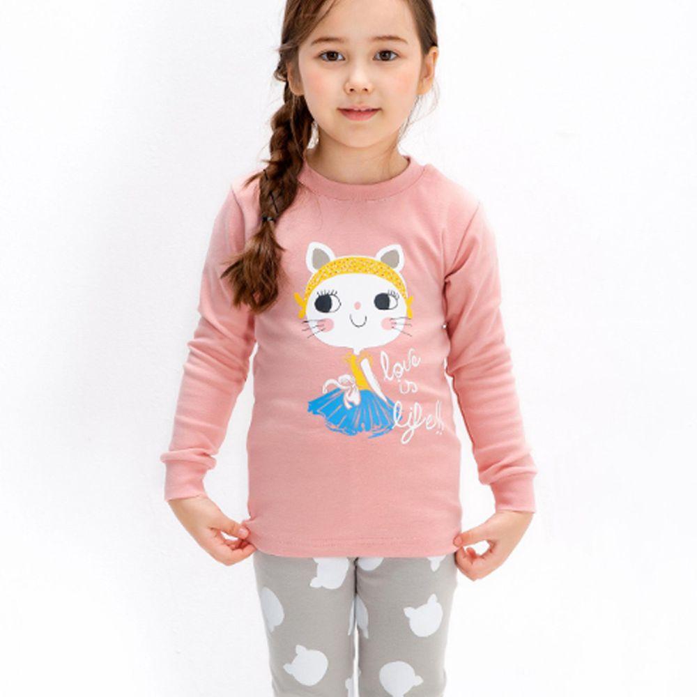 韓國 Mellisse - 韓製裏起毛無螢光棉長袖家居服-俏麗貓女郎