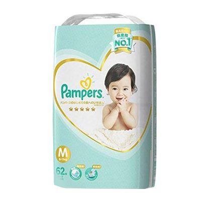 Pampers 幫寶適 - 日本境內五星增量版幫寶適尿布-黏貼型 (M [6-11kg])-62片x3包/箱(日本原廠公司貨 平行輸入)
