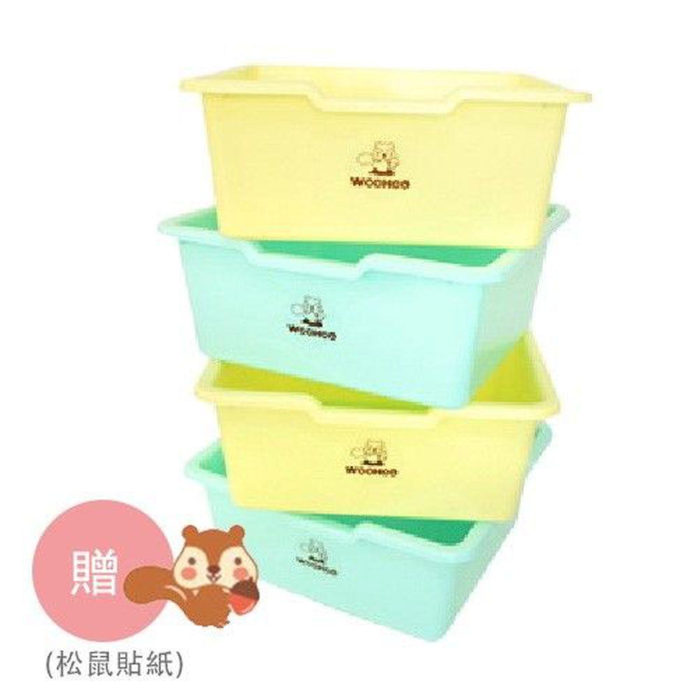 WOOHOO - 大收納盒-藍色x2+黃色x2-4入裝-買贈松鼠貼紙