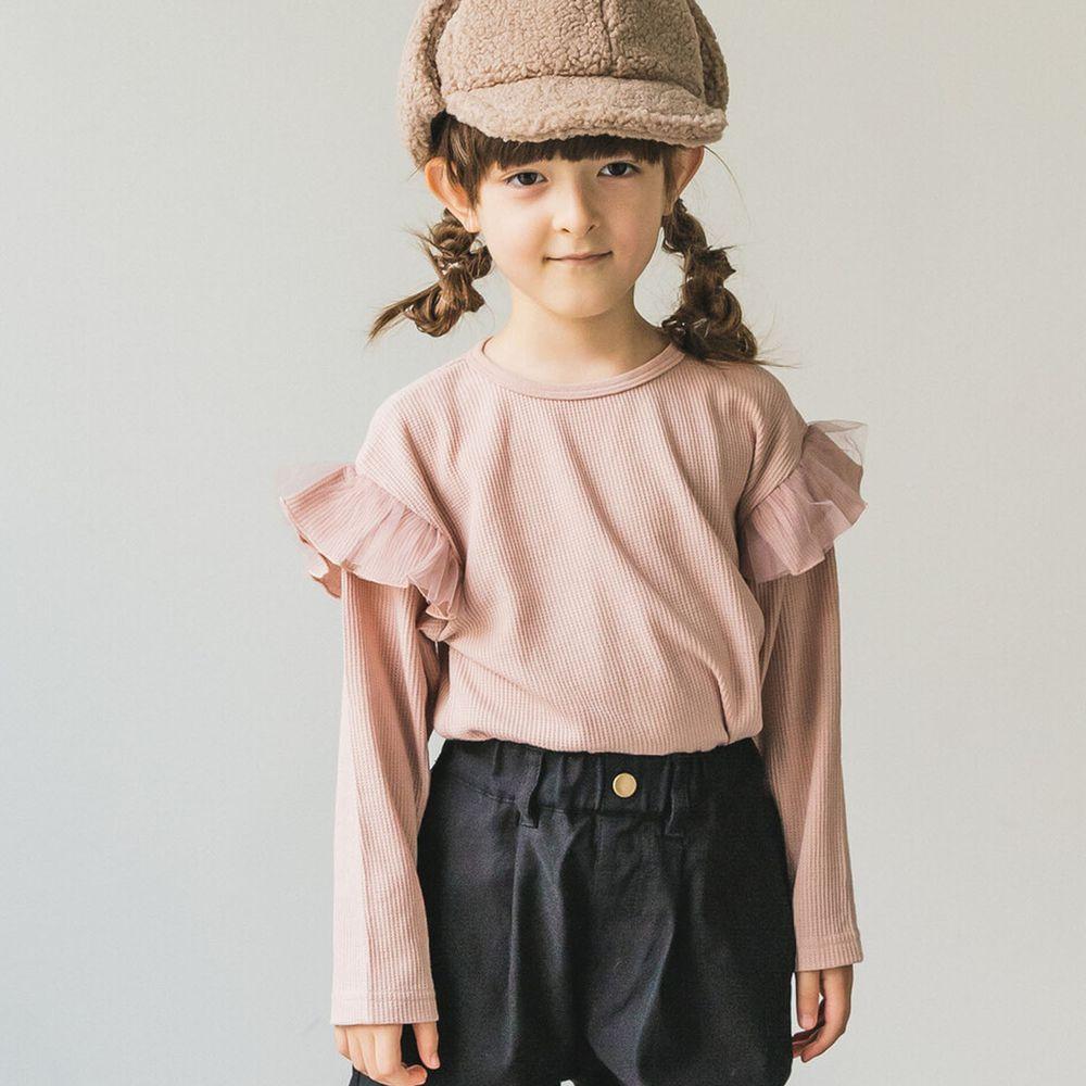日本 PAIRMANON - 上臂荷葉薄紗層次鬆餅紋長袖上衣-粉
