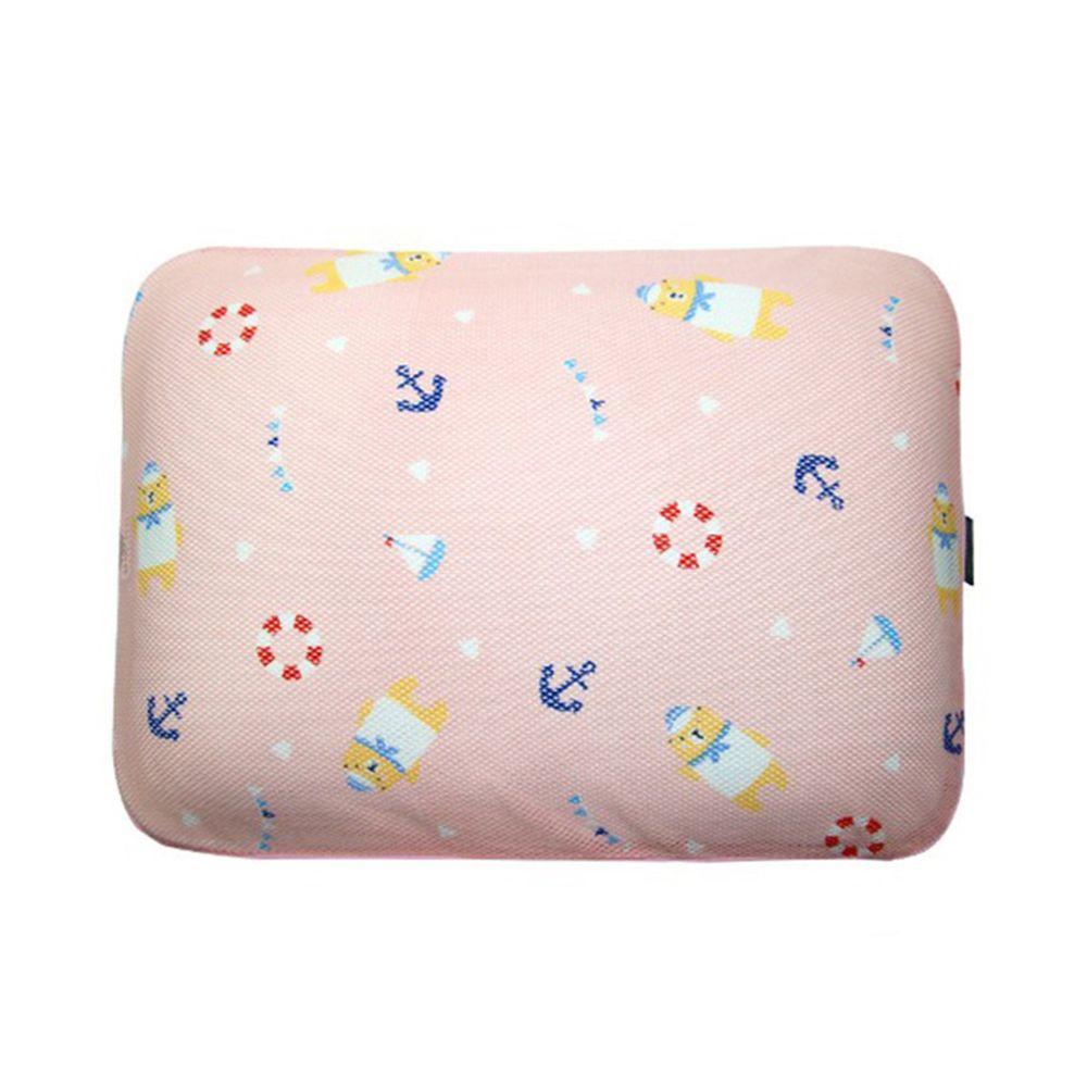 韓國 GIO Pillow - 超透氣防螨兒童枕頭-單枕套組-水手熊粉 (L號)-2歲以上適用
