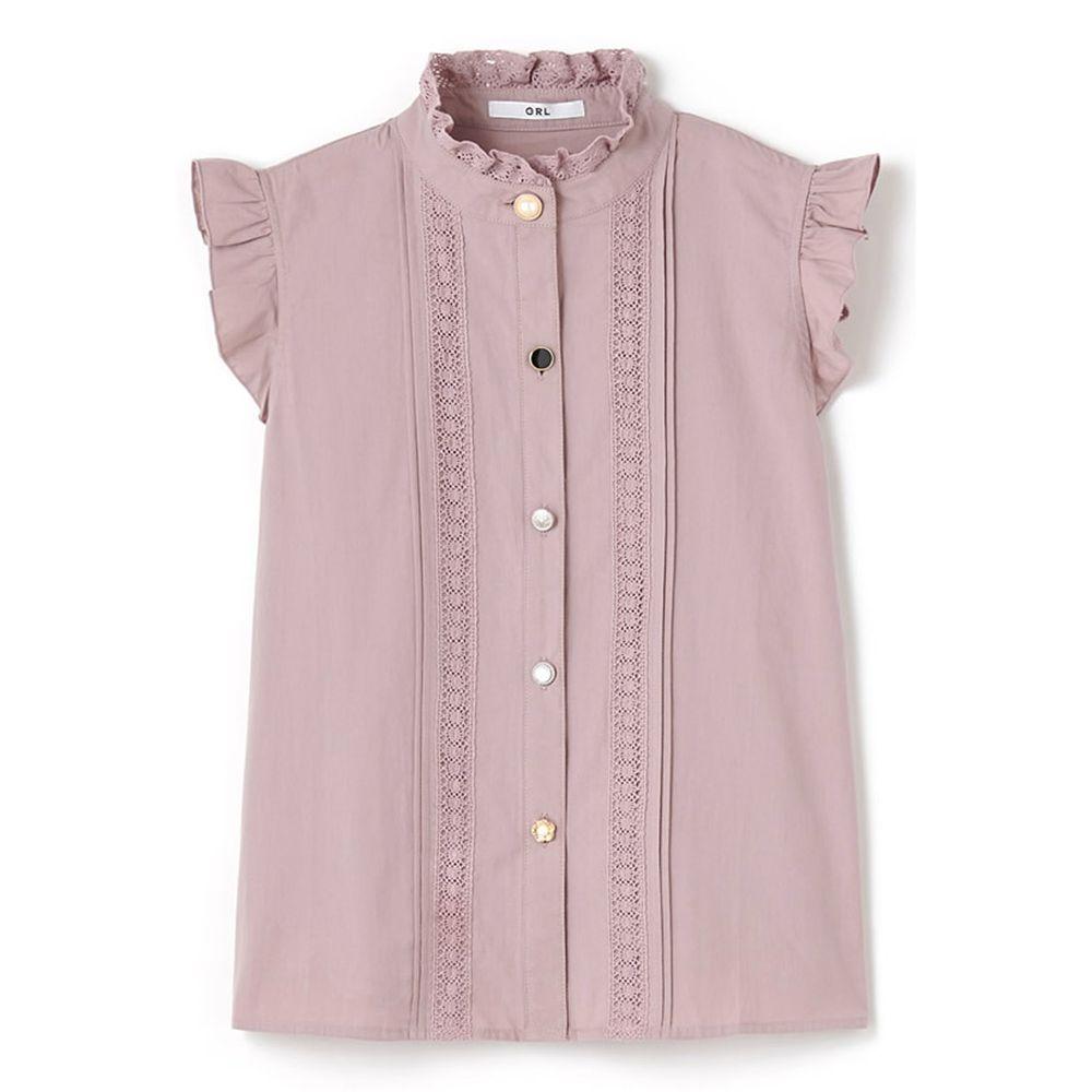 日本 GRL - 不規則排扣蕾絲小飛袖無袖襯衫-薰衣草 (M)