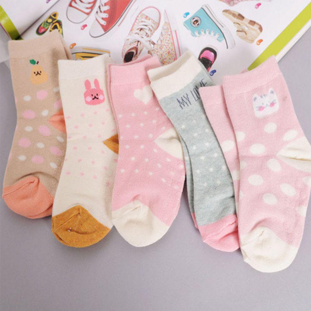 正韓童襪 - 5入組童襪-點點粉紅