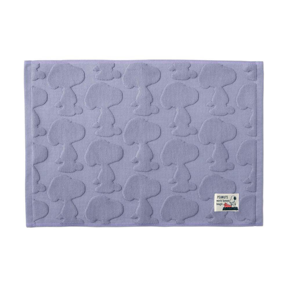日本千趣會 - 史努比 純棉吸水立體剪影毛巾腳踏墊-史努比-紫 (43x60cm)